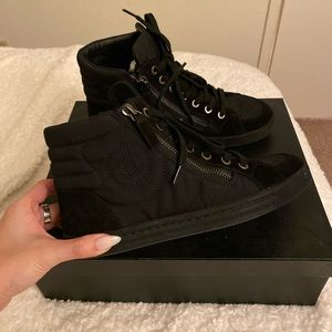 CHANEL Shoes - Authentic CHANEL High Top Sneakers Suede Size 35